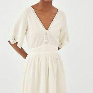 Zara off white linen embroidered die cut midi dres